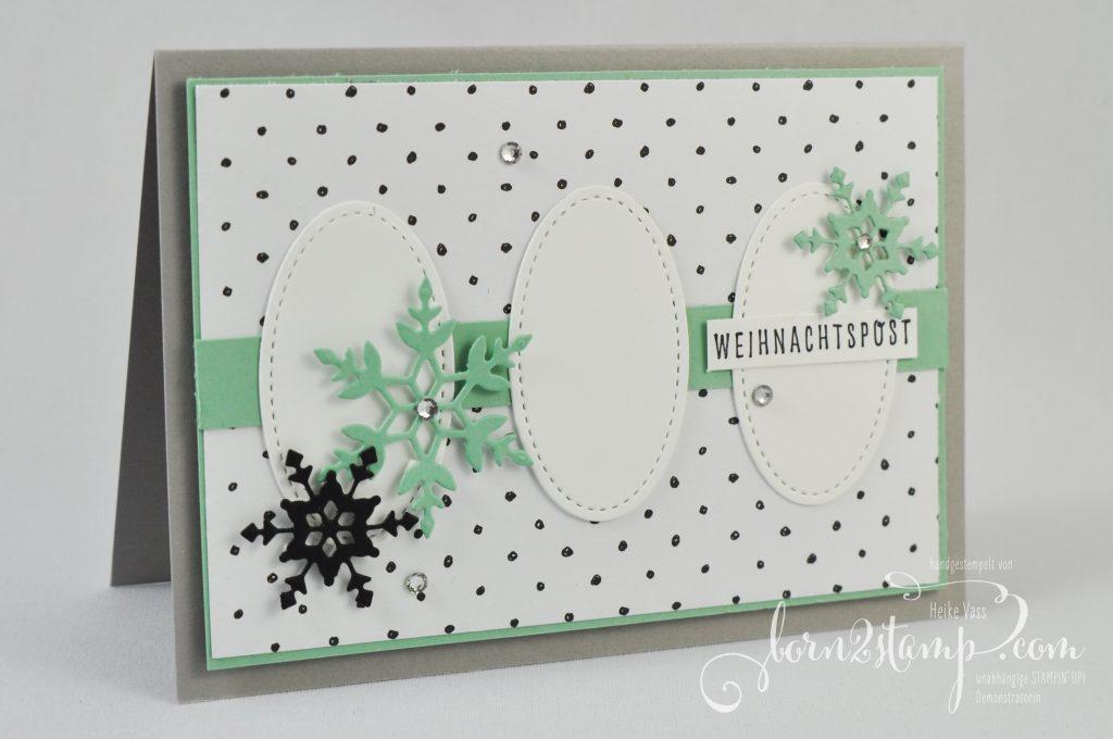 born2stamp Inkspire me STAMPIN UP Weihnachtskarte - Weihnachtsgrüße - DSP Geschmackvoll gemalt - Stanzformen So viele Flocken - Stanzformen Stickmuster