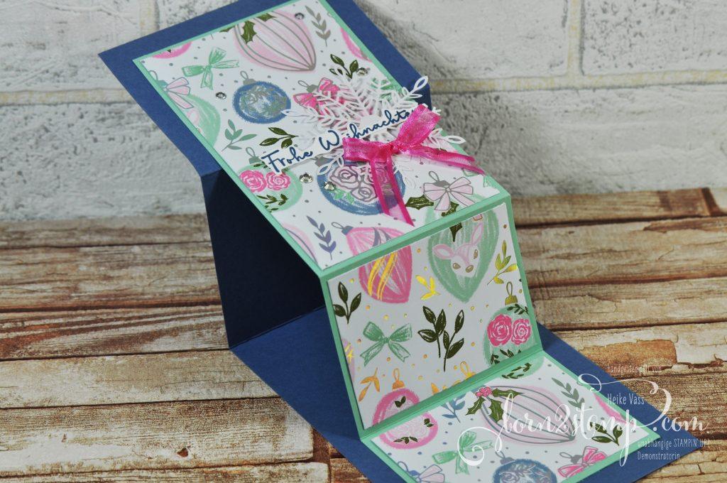 born2stamp Stempelnd durchs Jahr STAMPIN UP Weihnachtskarte Weihnachtsgrüsse - Locker gewebtes Geschenkband - DSP Zauber der Feiertage - Zauberhafte Flocken