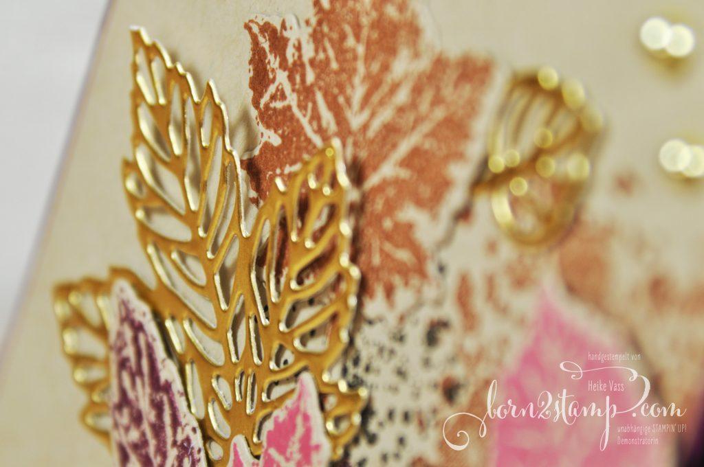 born2stamp Stempelnd durchs Jahr STAMPIN UP Karte - Schöner Herbst - Gorgeous leaves - Stanzformen Blätterfantasie - Schimmerndes Geschenkband Gold - DSP Herbstwunder